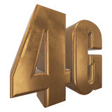 3D gold 4G icon on white. Gold 4G icon isolated on white background. 3D render letters Royalty Free Stock Photo