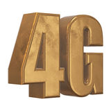 3D gold 4G icon on white. Gold 4G icon isolated on white background. 3D render letters Royalty Free Stock Image