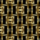 3d gold greek key meanders seamless pattern. Vector geometric st. Riped background, wallpaper. Modern abstract ornaments,  shapes, circles, spiral figures Royalty Free Stock Photos