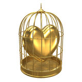 3d Gold heart in a bird cage. 3d render of a birdcage containing a golden heart Stock Photo