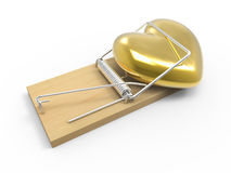 3d Gold heart in mousetrap Stock Images