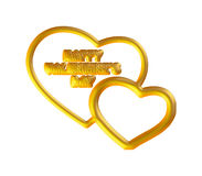 3D gold hearts set Stock Photos