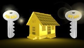 3d gold house,illustration. 3d gold house,best illustration Royalty Free Stock Photography