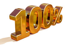 3d Gold 100 Hundred Percent Discount Sign Stock Image