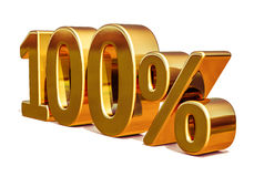 3d Gold 100 Hundred Percent Discount Sign Stock Photography