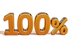 3d Gold 100 Hundred Percent Discount Sign Royalty Free Stock Photography