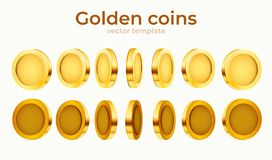 3d gold isolated coins set. Different positions. Flying gold coins, golden rain background. Jackpot or success concept. Vector illustration vector illustration