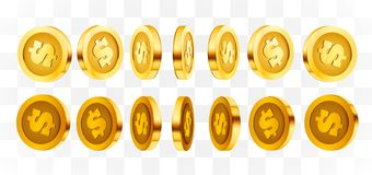3d gold isolated coins set. Different positions. Flying gold coins, golden rain background. Jackpot or success concept. Vector illustration stock illustration