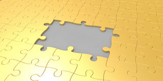 3D gold jigsaw puzzle piesces with grey gray area design Royalty Free Stock Image