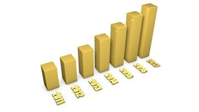 3d gold material growing buisness chart Royalty Free Stock Photo
