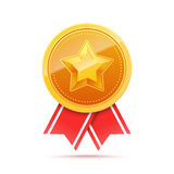 3D Gold medal with star and red ribbon. Stock Images