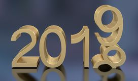 3D Gold Metal 2019 on Gray Background stock photography