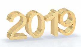 3D Gold Metal 2019 on White Background royalty free stock image