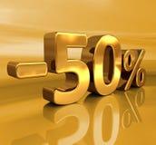 3d Gold -50%, minus des fünfzig Prozent-Rabatt-Zeichens Stockfotografie