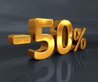 3d Gold -50%, minus des fünfzig Prozent-Rabatt-Zeichens Stockfotos