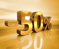 3d Gold -50%, minus des fünfzig Prozent-Rabatt-Zeichens Stockfoto