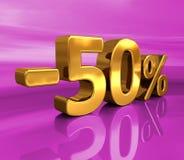 3d Gold -50%, minus des fünfzig Prozent-Rabatt-Zeichens Lizenzfreies Stockfoto