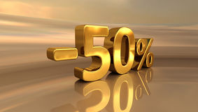 3d Gold -50%, minus des fünfzig Prozent-Rabatt-Zeichens Lizenzfreie Stockfotografie