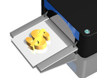 3D gold money symbol with printer Stock Photos