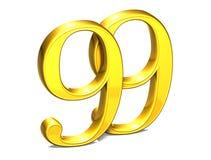 3D Gold neunundneunzig auf weißem Hintergrund Stockfotos