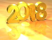 3D Gold New Year 2018 on white background.  Stock Photography