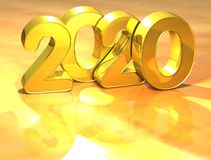 3D Gold New Year 2020 on white background.  Royalty Free Stock Photos