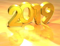 3D Gold New Year 2019 on white background.  Royalty Free Stock Images
