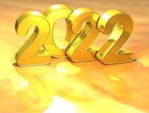 3D Gold New Year 2022 on white background.  Stock Photo