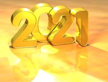 3D Gold New Year 2021 on white background Stock Image