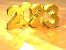 3D Gold New Year 2023 on white background Royalty Free Stock Photo