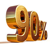 3d Gold 90 Ninety Percent Discount Sign. Gold Sale 90%, Gold Percent Off Discount Sign, Sale Banner Template, Special Offer 90% Off Discount Tag, Golden Ninety Royalty Free Stock Image