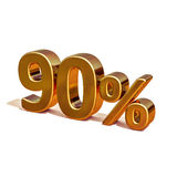 3d Gold 90 Ninety Percent Discount Sign. Gold Sale 90%, Gold Percent Off Discount Sign, Sale Banner Template, Special Offer 90% Off Discount Tag, Golden Ninety Royalty Free Stock Photography