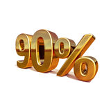 3d Gold 90 Ninety Percent Discount Sign. Gold Sale 90%, Gold Percent Off Discount Sign, Sale Banner Template, Special Offer 90% Off Discount Tag, Golden Ninety Royalty Free Stock Images