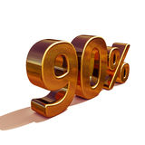 3d Gold 90 Ninety Percent Discount Sign. Gold Sale 90%, Gold Percent Off Discount Sign, Sale Banner Template, Special Offer 90% Off Discount Tag, Golden Ninety Stock Photography