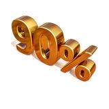 3d Gold 90 Ninety Percent Discount Sign Stock Photos