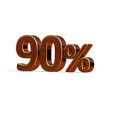 3d Gold 90 Ninety Percent Discount Sign. Gold Sale 90%, Gold Percent Off Discount Sign, Sale Banner Template, Special Offer 90% Off Discount Tag, Golden Ninety Stock Photo