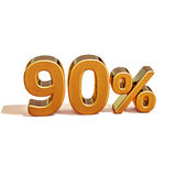 3d Gold 90 Ninety Percent Discount Sign Royalty Free Stock Photos