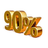 3d Gold 90 Ninety Percent Discount Sign Royalty Free Stock Photo