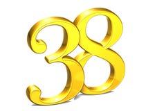 3D Gold Nr. achtunddreißig auf weißem Hintergrund Stockbilder