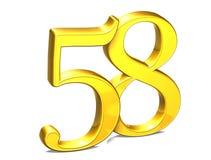 3D Gold Nr. achtundfünfzig auf weißem Hintergrund Lizenzfreies Stockfoto