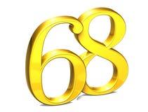 3D Gold Nr. achtundsechzig auf weißem Hintergrund Stockfotografie