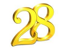 3D Gold Nr. achtundzwanzig auf weißem Hintergrund Stockbild