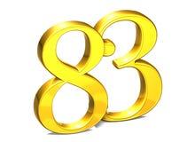 3D Gold Nr. dreiundachzig auf weißem Hintergrund Lizenzfreie Stockfotos