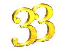 3D Gold Nr. dreiunddreißig auf weißem Hintergrund Lizenzfreie Stockbilder