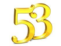 3D Gold Nr. dreiundfünfzig auf weißem Hintergrund Stockbilder