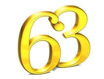 3D Gold Nr. dreiundsechzig auf weißem Hintergrund Stockfotografie