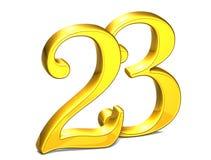 3D Gold Nr. dreiundzwanzig auf weißem Hintergrund Stockbilder