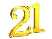 3D Gold Nr. einundzwanzig auf weißem Hintergrund Lizenzfreies Stockbild