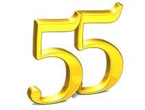 3D Gold Nr. fünfundfünfzig auf weißem Hintergrund Lizenzfreie Stockbilder