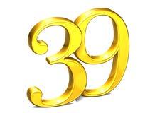 3D Gold Nr. neununddreißig auf weißem Hintergrund Stockfoto